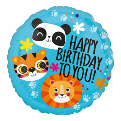 "18""46cm Standard Lion, Tiger & Panda Birthday folija balon"