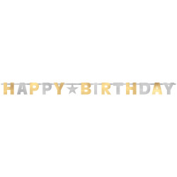 Silver & Gold Happy Birthday baner