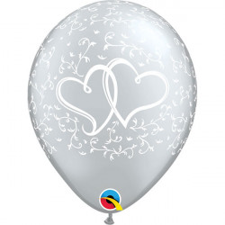 """11""""28 cm Entwined Hearts Silver latex balon"""