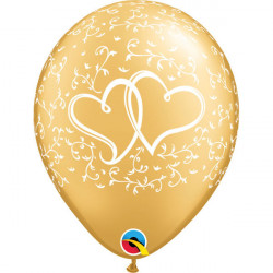 """11""""28 cm Entwined Hearts Gold latex balon"""