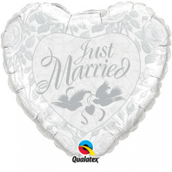 "18""43cm  Just Married Silver Doves Folija balon"
