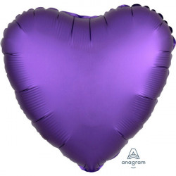 "17""43 cm Heart Satin Luxe Purple Royale folija balon"