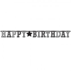 Black & White Happy Birthday Giant Letter Banner