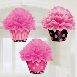 Deluxe Cupcake Fluffy Decorations Pink & Dots 30cm