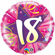 "18""45 cm Round Foil 18 Shining Star Hot Pink balon"