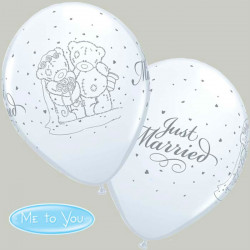 "11"" 28cm Me to You Just Married White latex balon"