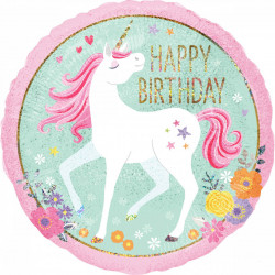 "18""43cm Holographic ""Magical Unicorn Happy Birthday"" folija balon"