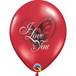 "11"" 28 cm I Love You Red Rose latex baloni"