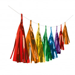 Garland Tassel Bright Rainbow Paper