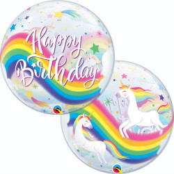 "22""56 cm Birthday Rainbow Unicorns bubble balon"