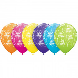 "11""28 cm Birthday-a-Round Tropical mix letex balona"