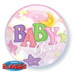 "22""56cm Baby Girl Moon & Stars bubble balon"