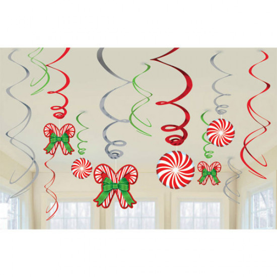 12 Swirl Decorations Candy Cane