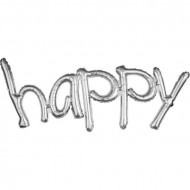 "Phrase  ""Happy"" Silver folija balon"