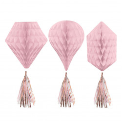 3 Honeycombs With Tassel Rose Gold Blush Paper 30cm