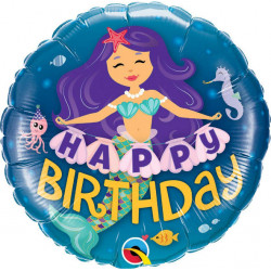 "18""43cm Happy Birthday Mermaid folija balon"