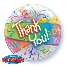 "22"" 58cm Thank You Streamers bubble balon"