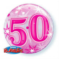 "22"" 58cm 50 Pink Starburst Sparkle bubble balon"