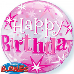 "22"" 58cm  Birthday Pink Starburst Sparkle bubble balon"