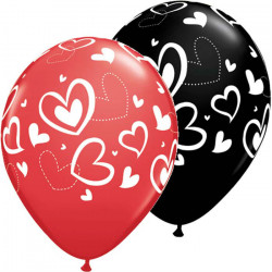 11″28cm Mix & Match Hearts latex baloni
