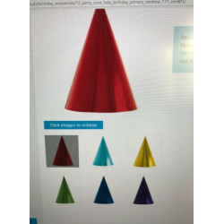 12 Party Cone Hats Birthday Primary Rainbow 17.7 cm