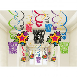 30 Swirl Decorations Happy New Year Jewel Tone