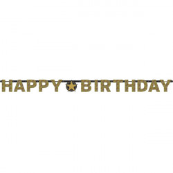 Letter Banner Sparkling Celebrations gold Happy Birthday