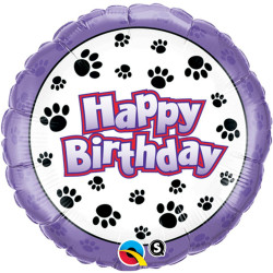 "18""43cm Birthday Paw Prints folija balon"